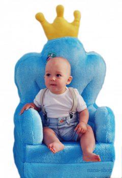 Plüss babafotel - kék trón