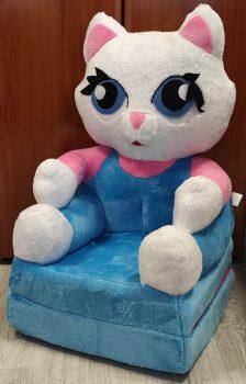 Plüss babafotel - kék cica