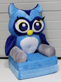 Plüss babafotel - kék bagoly