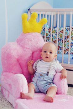Plüss babafotel - rózsaszín trón